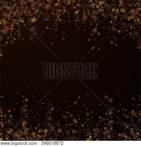 Beautiful Starry Snow Christmas Overlay. Christmas Lights, Bokeh, Snow Flakes, Stars On Night Backgr