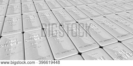 The Highest Standard Silver Bars. Lots Of Ingots Of 999.9 Fine Silver Lie In A Row. 3d Illustration