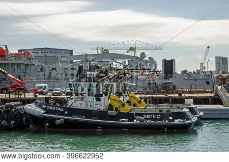 Portsmouth, Uk - September 8, 2020:  The Serco Operated Tug Boat Sd Christina Moored In The Royal Na