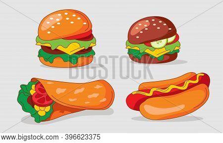 Set Of Flat Fast Food Meal Icons. Vegetarian Burger, American Burger, Shawarma, American Hot Dog,  I