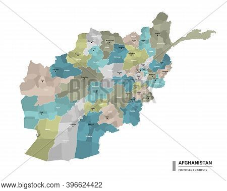 Afghanistan Higt Detailed Map With Subdivisions. Administrative Map Of Afghanistan With Districts An