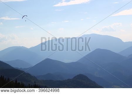 Exciting And Adventurous Hobby: Awesome Paragliding Moment: Paragliding Concept / Paraglider Flying