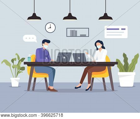 Social Distancing At Office Workplace. People Keeping Distance In Office, Safety Awareness Of Covid-