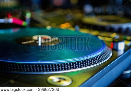 Retro Analog Vinyl Record On Turn Table.professional Dj Turntables For Playing Music.stage Audio Equ