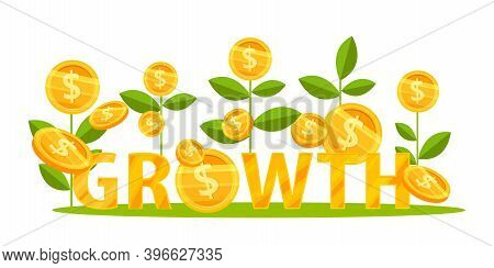 Income Growth Or Revenue Increase Business Vector Finance Concept With Dollar Coin Plants Going Up.