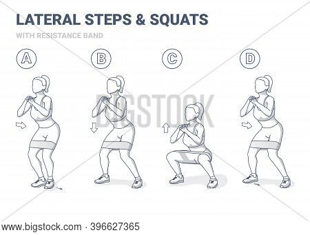 Lateral Walk And Squats With Resistance Band Girl Exercise Gudance. Side Steps And Squating Home Wor