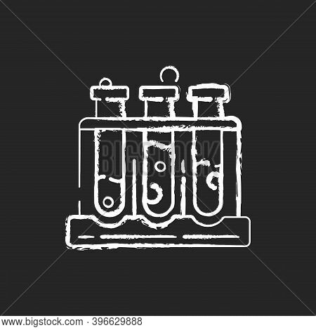 Test Tube Rack Chalk White Icon On Black Background. Laboratory Equipment. Holding Upright Multiple