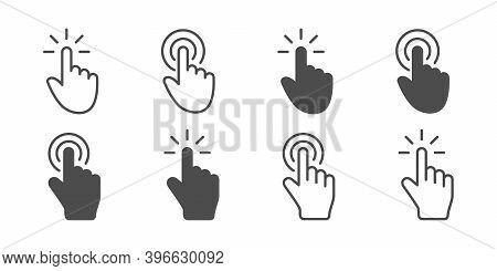 Cursor Click Collection. Concept Cursor Computer Mouses, Isolated. Clicking Cursor Vector Icons Line