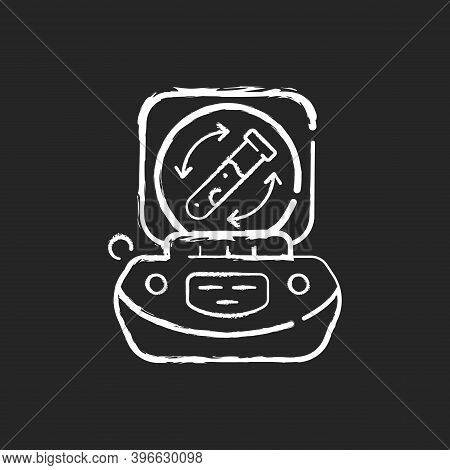 Lab Centrifuge Chalk White Icon On Black Background. Spinning Vessel Containing Material At High Spe