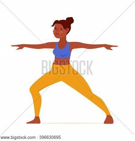 Cartoon Girl Isolated On White Standing In Virabhadrasana. Warrior Pose. Yoga Pose