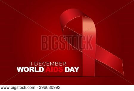 1 December World Aids Day Concept With Red Ribbon Sign. Vector Illustration