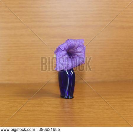 Beautiful Purple Ruellia Simplex On Small Bottle