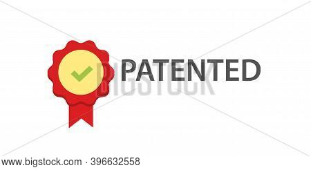 Patent Stamp Icon Vector, Red Color Copyright Badge Idea, Success Patented Seal Sign, Licensed Label