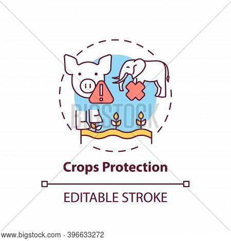 Crops Protection Concept Icon. Harm Wildlife From Toxic Pesticide. Danger To Pig, Elephant. Animal H