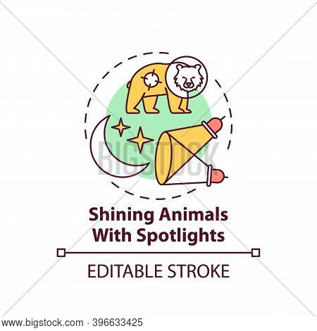 Shining Animals With Spotlights Concept Icon. Harm Wildlife. Animal Welfare. Nature Conservation Ide