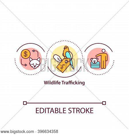 Wildlife Trafficking Concept Icon. Harming Wild Animals And Plants Populations Idea Thin Line Illust