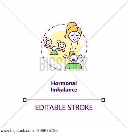 Hormonal Imbalance Concept Icon. Cfs Cause Idea Thin Line Illustration. Abnormal Hormones Levels. Hy