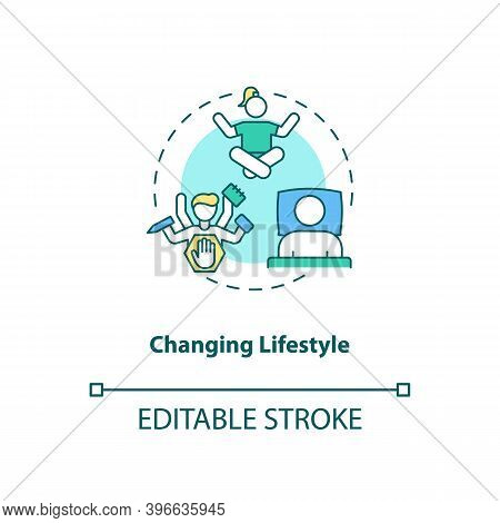 Changing Lifestyle Concept Icon. Cfs Treatment Idea Thin Line Illustration. Energy Levels Improvemen