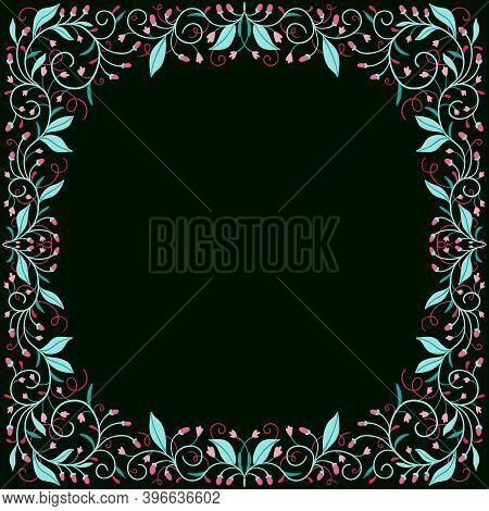Retro Boho Berry Pattern On A Dark Backdrop For The Design Of Bandanas, Scarves, Shawls.