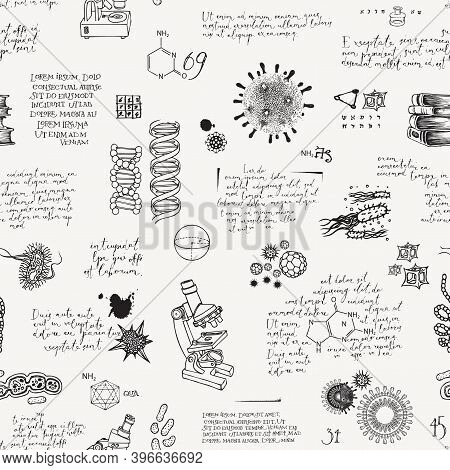 Abstract Seamless Pattern On The Topics Of Medicine, Chemistry, Biology, Genetics, Scientific Resear