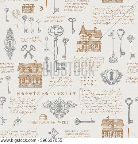 Hand-drawn Seamless Pattern With Vintage Keyholes, Old Keys And Log Houses. Vector Background With S