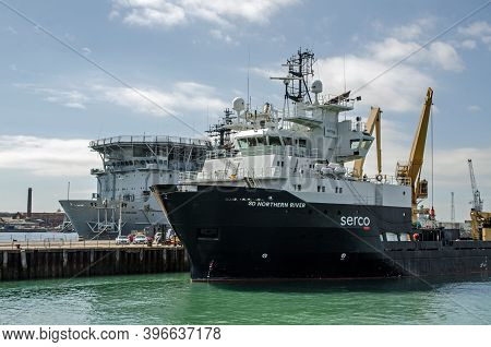 Portsmouth, Uk - September 8, 2020: The Serco Operated Submarine Rescue Ship Northern River Moored A