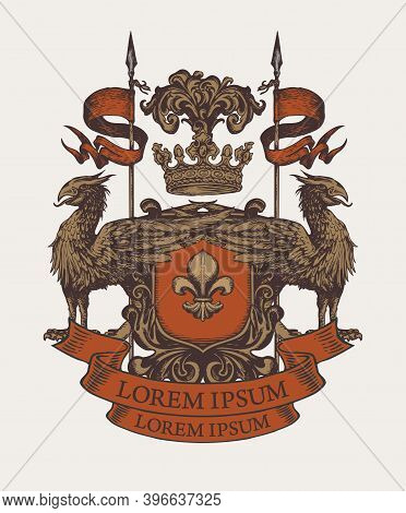 Medieval Heraldic Coat Of Arms In Vintage Style With Shield, Knightly Armor, Spears, Crown, Griffins