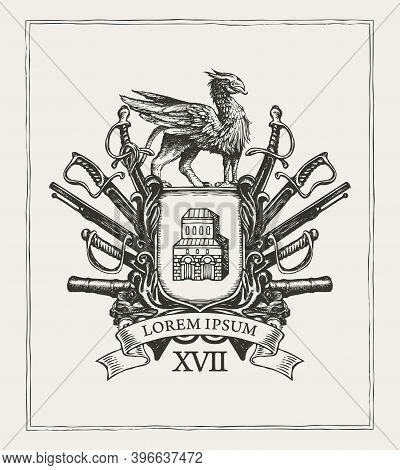 Heraldic Coat Of Arms In Vintage Style With Knightly Shield, Griffin, Spears, Sabers, Swords, Cannon