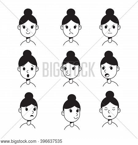 Woman With Different Emotions. Joy, Sadness, Anger, Talking, Funny, Fear, Smile. Set. Isolated Illus