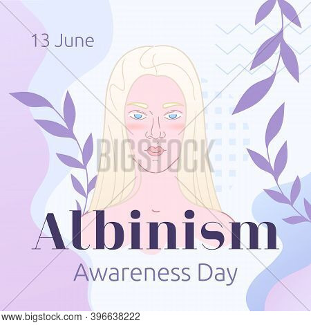 13 June - International Albinism Awareness Day. Cute Holiday Concept In Lavender Palette. Square Lay