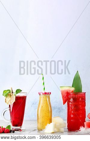 Smoothie With Melon Watermelon And Beries. Smoothie Asorti On Light Background