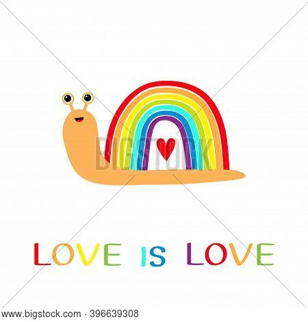 Rainbow Snail Insect Bug On White Background. Red Heart. Colorful Line Set. Greeting Card. Love Is L
