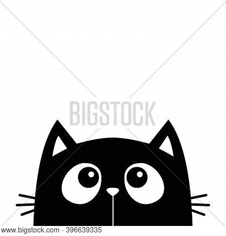 Cute Cat Face Head Silhouette Looking Up. Cartoon Baby Character. Black Kawaii Animal. Notebook Stic