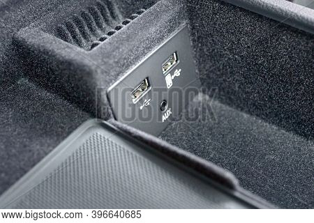 Contemporary Car Interior Element Inside Of Driver Seat Headrest Usb And Aux Inputs For Connecting G