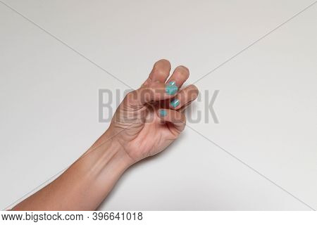 Half Closed Hand Symbolizing Hatred Or Anxiety On White Background