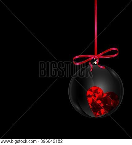 Black Red Christmas Ball With Heart Crystal