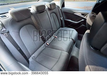 Grodno, Belarus - December 2019: Audi A6 4g C7 Contemporary Car Cabin Interior With Rear Back Passen