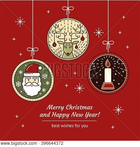 Merry Christmas Greeting Card With Line Art Santa Claus, Reindeer, Christmas Toys, Candle And Festiv