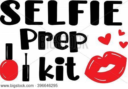 Selfie Prep Kit On The White Background. Vector Illustration