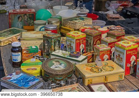 Amsterdam, Netherlands - May 16, 2018: Vintage Boxes For Sale At Flea Market In Amsterdam, Holland.