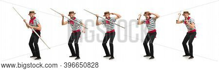 Collage. Handsome Male Gondolier, Seaman, Sailor Isolated Over White Studio Background. Concept Of P