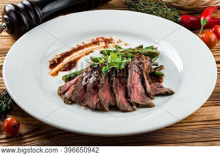Flank Steak With Chimichurri Sauce. Healthy Food. Style Vintage. Skirt Steak
