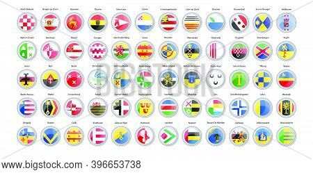 Set Of Vector Icons. Municipalities Of Netherlands Flags (north Brabant Province).