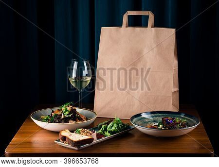 Daily Meals And Snacks. Diet Nutrition And Brown Paper Bag Package With Copy Space, Healthy Food Del
