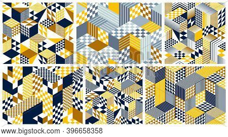 Seamless Isometric Rhombus And Triangles Geometric Patterns Set, 3d Cubes Vector Tiling Backgrounds,