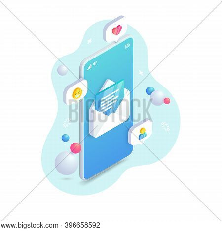 Mobile Email Service Isometric Concept. New Message Open On Smartphone Screen. 3d Social Network, Sm