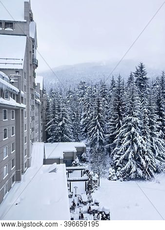 Whistler, Bc, Canada - January 16, 2020. Snowy Forest Landscape From The Hotel Window. The Famous Wh