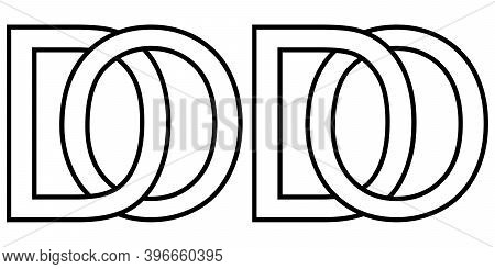 Logo Od Do Icon Sign Two Interlaced Letters O D, Vector Logo Od Do First Capital Letters Pattern Alp