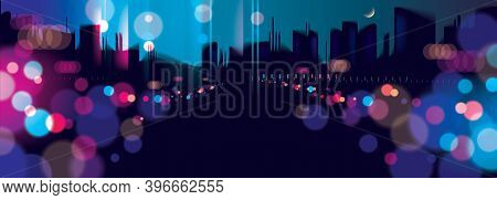 Wide Panorama Light Night At City, Bokeh Abstract Background Blurred Lights. Effect Vector Beautiful
