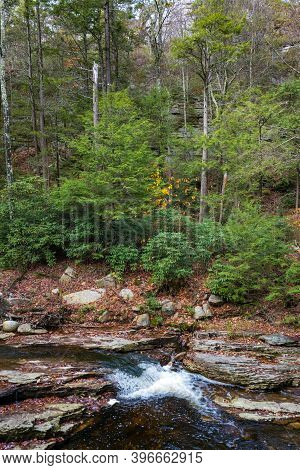A Stream Runs Over Bedrock During Autumn In Lake Minnewaska State Park In Ulster County New York.